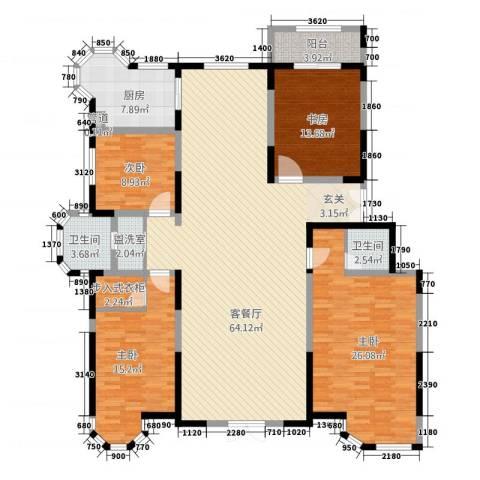 上河墅4室2厅2卫1厨212.00㎡户型图