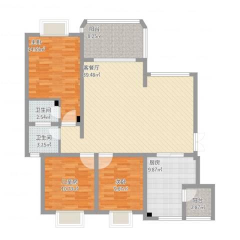 英豪永和春天3室1厅2卫1厨145.00㎡户型图