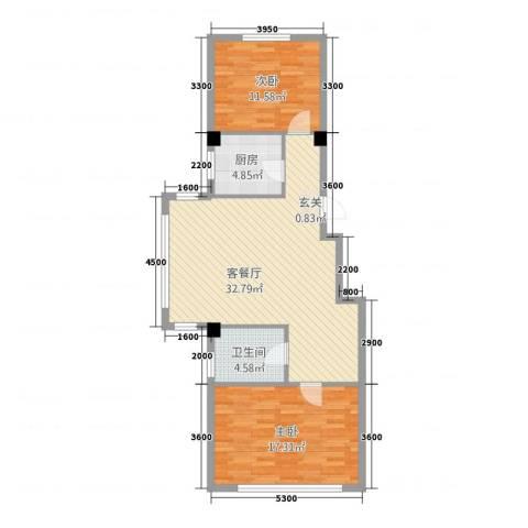 九豪富贵山庄2室1厅1卫1厨99.00㎡户型图