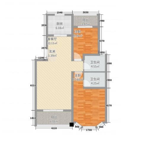 长房西郡2室1厅2卫1厨122.00㎡户型图