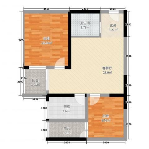 天赐苑2室1厅1卫1厨88.00㎡户型图