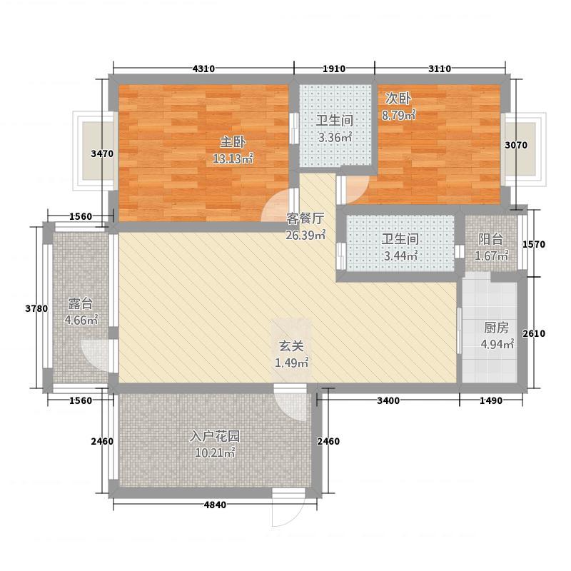 通利佳苑2-C户型2室3厅2卫1厨
