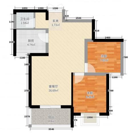 天赐苑2室1厅1卫1厨77.00㎡户型图