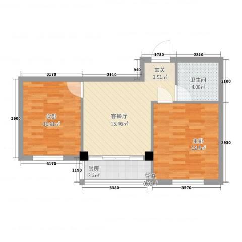 万商国际城市广场2室1厅1卫1厨66.00㎡户型图