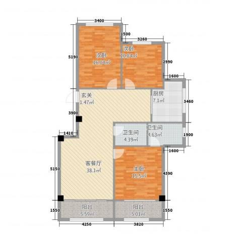 九豪富贵山庄3室1厅2卫1厨148.00㎡户型图