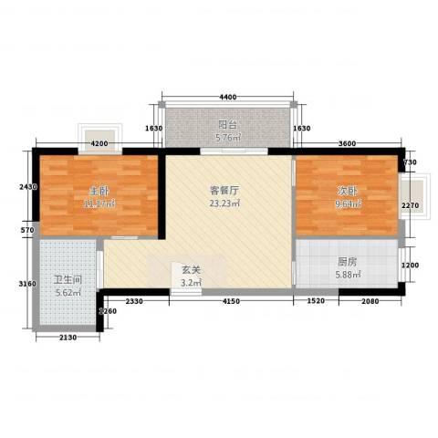 天赐苑2室1厅1卫1厨87.00㎡户型图