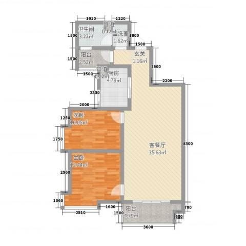 金磊・中央城2室2厅1卫1厨109.00㎡户型图