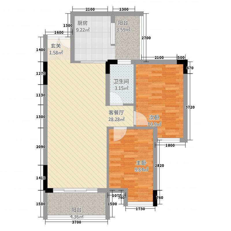 东福花园581.32㎡C栋05户型2室1厅1卫1厨