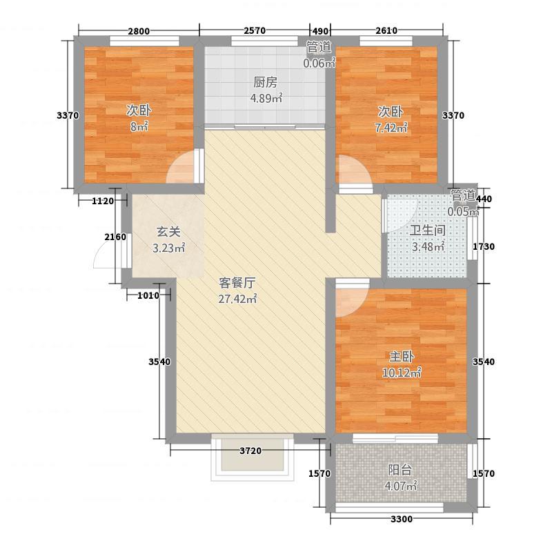 万邦城5.80㎡b1户型3室2厅1卫