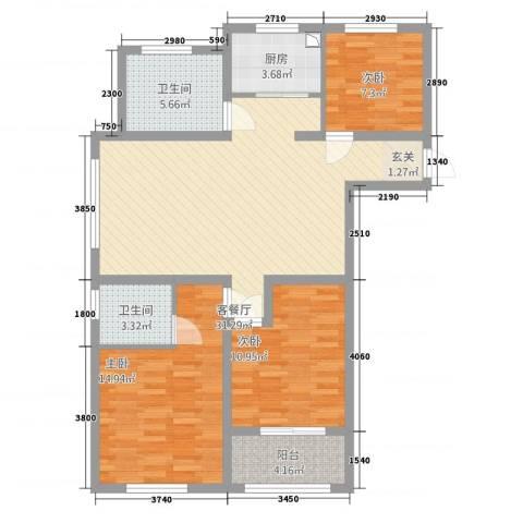 清华园3室1厅2卫1厨81.50㎡户型图
