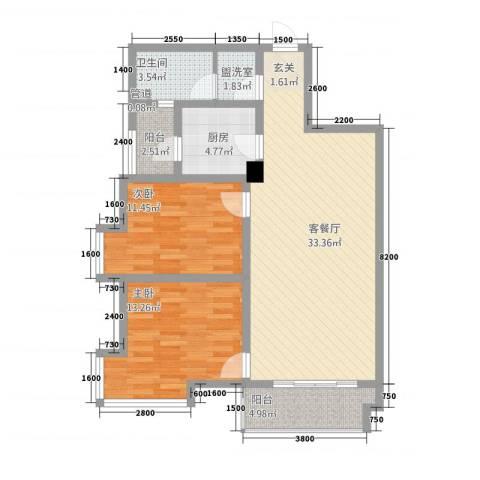 金磊・中央城2室2厅1卫1厨110.00㎡户型图
