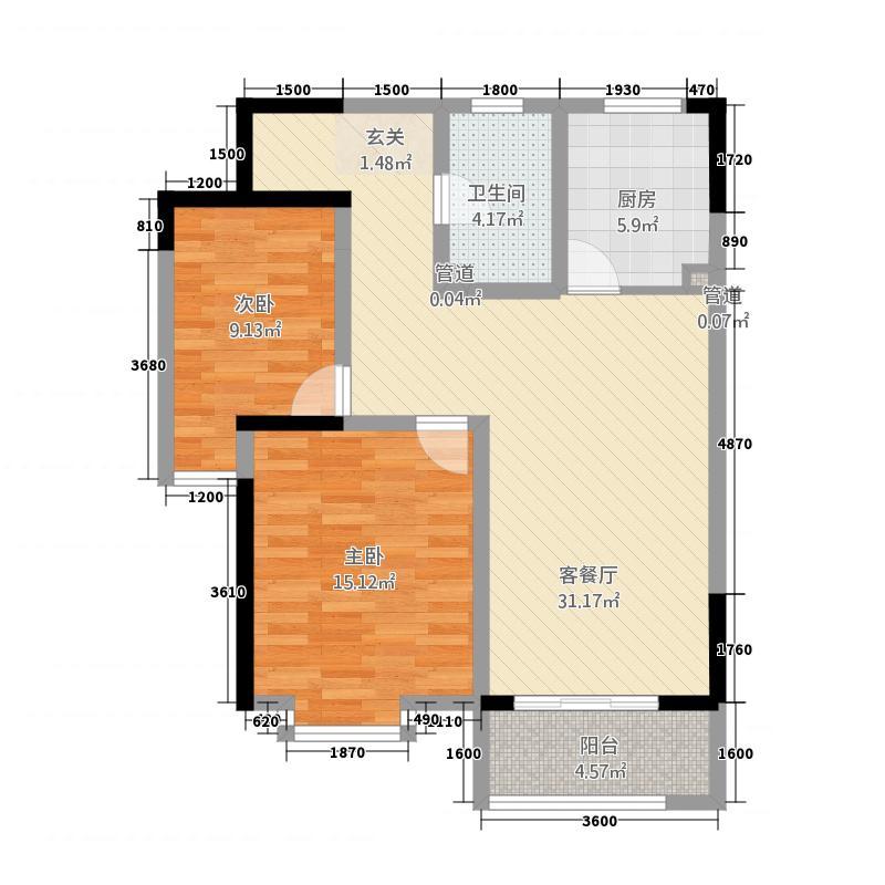 国祯家园5.00㎡A2户型2室2厅1卫