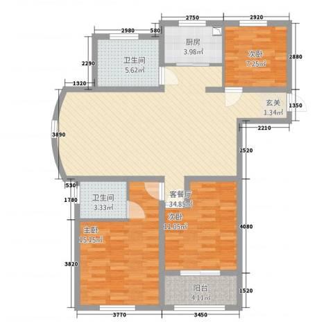 清华园3室1厅2卫1厨122.00㎡户型图
