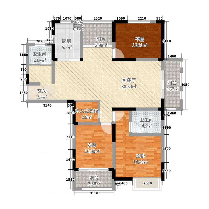 景徽国际147.26㎡B-1户型3室2厅2卫1厨