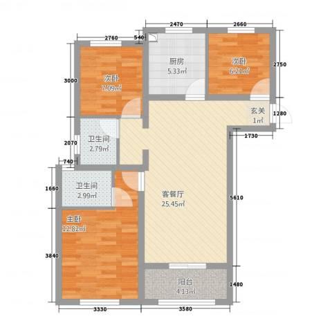 清华园3室1厅2卫1厨67.06㎡户型图
