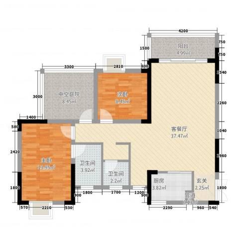 富兴嘉城2室1厅2卫1厨83.38㎡户型图