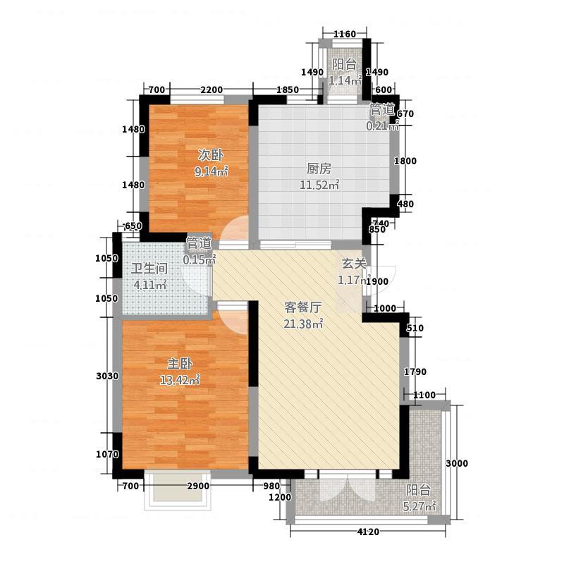 阳光美域高层标准层A户型2室2厅1卫1厨