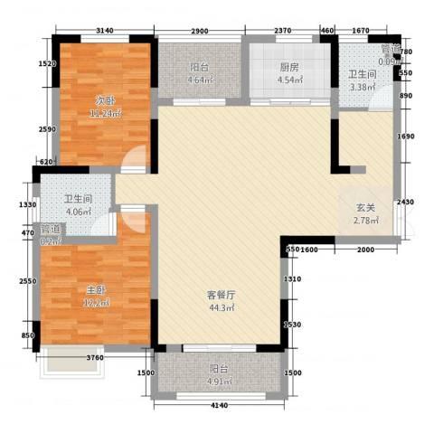 景徽国际2室1厅2卫1厨129.00㎡户型图