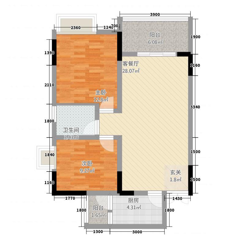 五丰・晶城公馆86.30㎡A单卫户型2室2厅1卫1厨