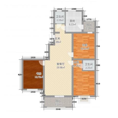 金鼎安邦3室1厅2卫1厨80.89㎡户型图