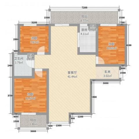 金磊・中央城3室1厅1卫1厨135.00㎡户型图