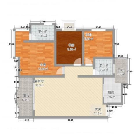 塞纳阳光3室1厅2卫1厨128.00㎡户型图