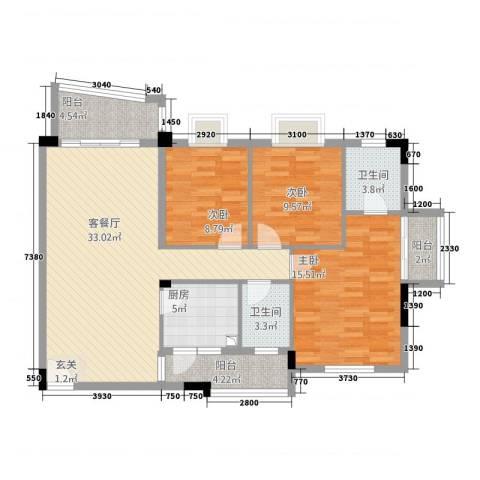 半山翠苑3室1厅2卫1厨128.00㎡户型图