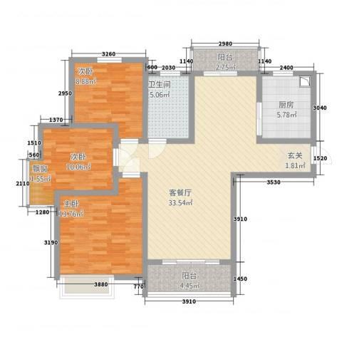瀚林苑3室1厅1卫1厨112.00㎡户型图