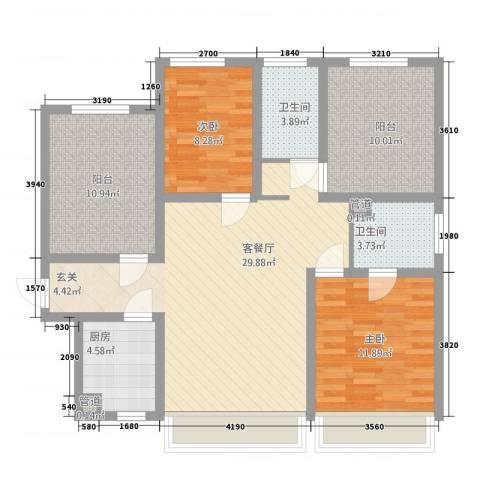 南市小区2室1厅2卫1厨121.00㎡户型图