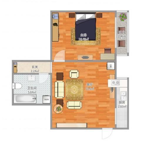 富华家园1室1厅1卫1厨71.00㎡户型图