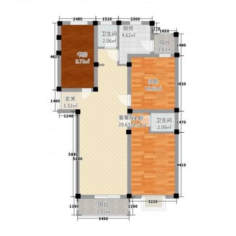 金鼎安邦3室1厅2卫1厨78.56㎡户型图