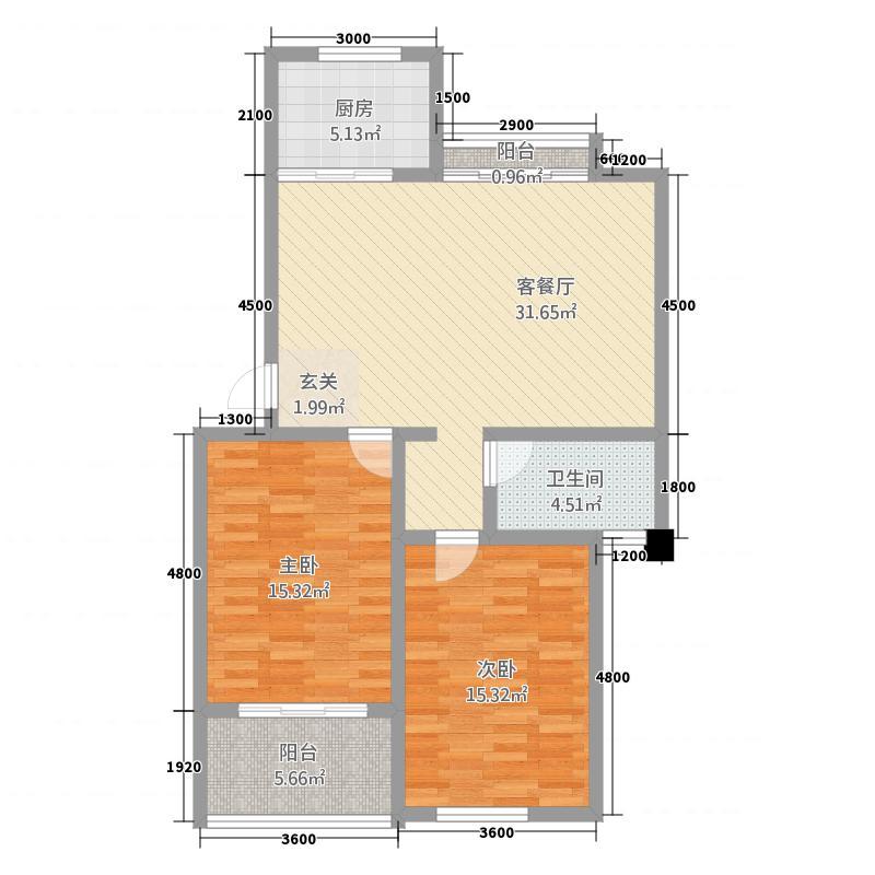凤凰7.21㎡小区6号楼L户型2室2厅1卫1厨