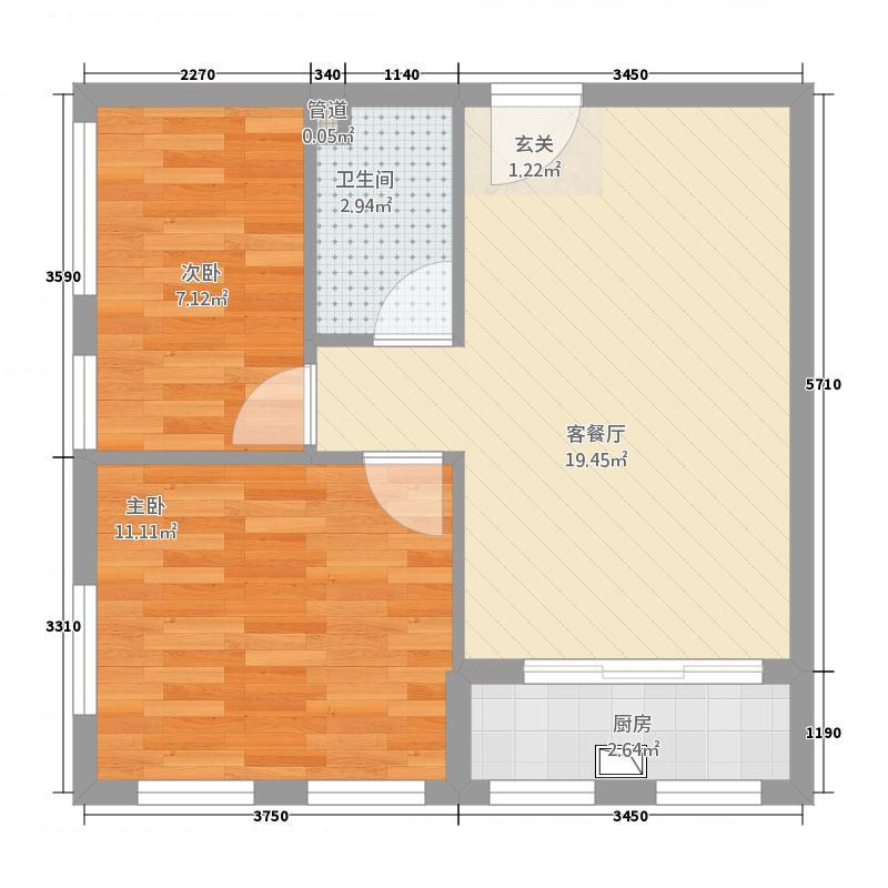 安邦财富中心68.00㎡宽景公寓户型2室2厅1卫1厨