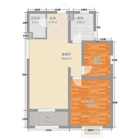 紫气东来2室1厅1卫1厨66.18㎡户型图