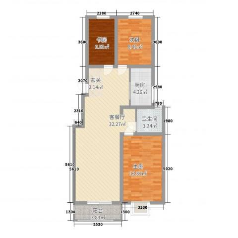 金鼎安邦3室1厅1卫1厨72.36㎡户型图