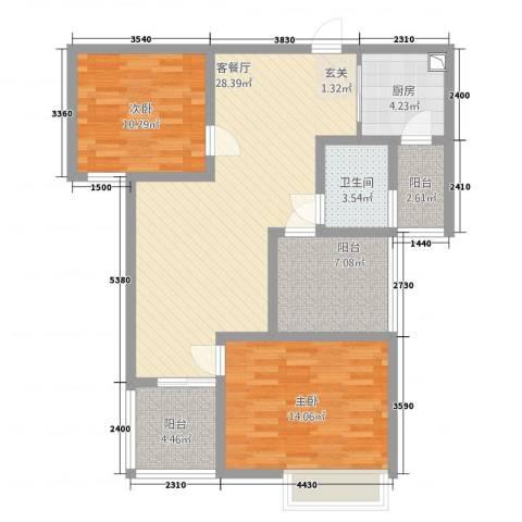 瀚林苑2室1厅1卫1厨74.82㎡户型图