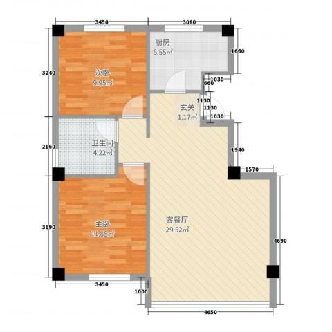 万商国际城市广场2室1厅1卫1厨84.00㎡户型图