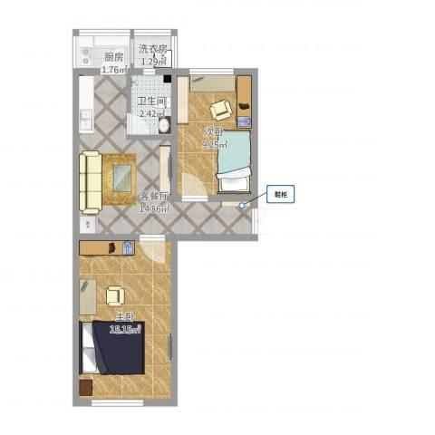 荣迁东里2室1厅1卫1厨64.00㎡户型图