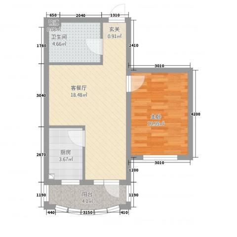 昌宇星河湾1室1厅1卫1厨61.00㎡户型图