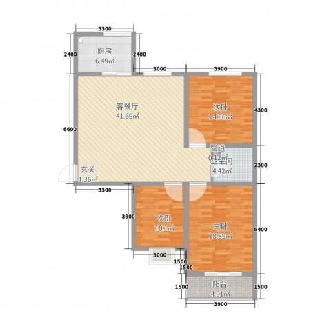 康宁美郡二期3室1厅1卫1厨143.00㎡户型图