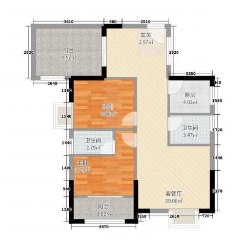山水华庭2室1厅2卫1厨70.62㎡户型图