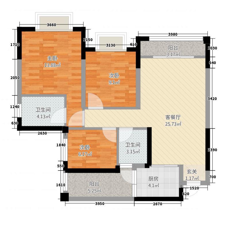 万景中岩广场A1户型3室2厅2卫1厨
