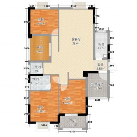 山水华庭3室1厅2卫1厨97.99㎡户型图