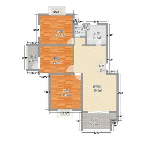 仙林诚品城3室1厅1卫1厨82.15㎡户型图