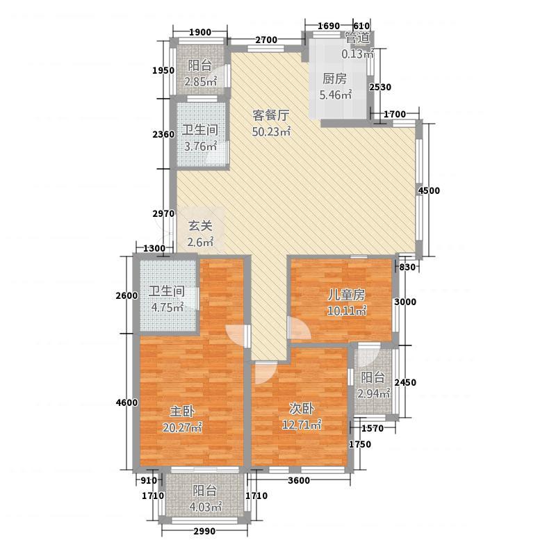 富馨花园131.00㎡D2户型3室2厅2卫