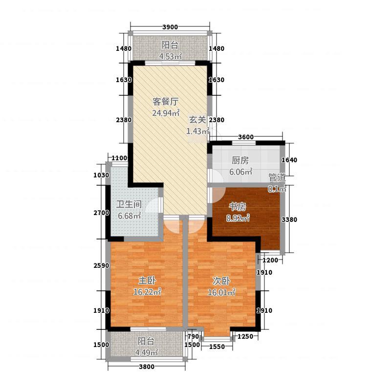 国祯家园121.63㎡C3户型3室2厅1卫