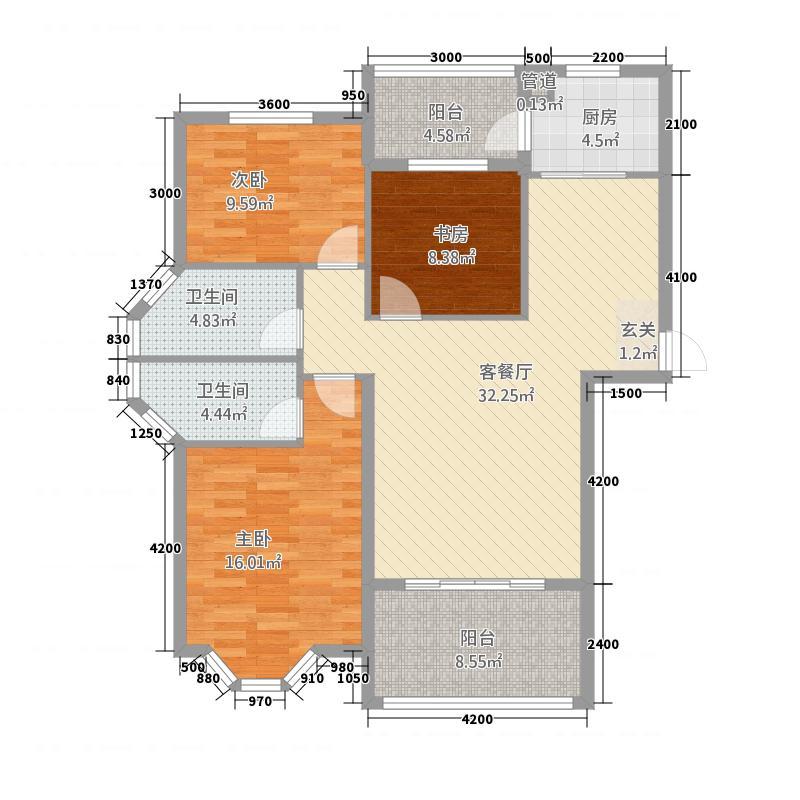航宇香格里拉111.70㎡A1户型3室2厅2卫1厨