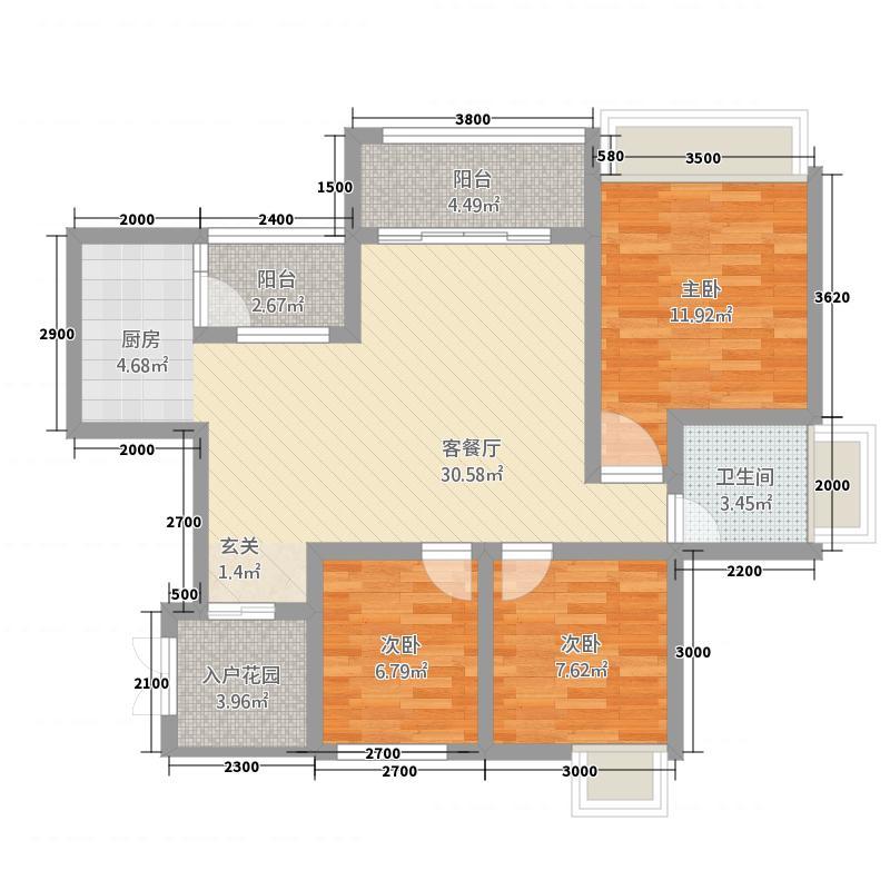 泰合・鹭岛江岸11.80㎡A3户型3室2厅1卫1厨