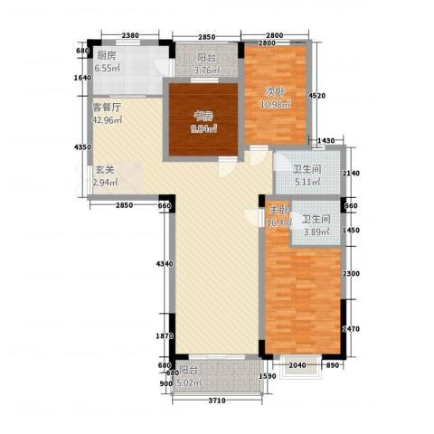 永利广场3室1厅2卫1厨143.00㎡户型图