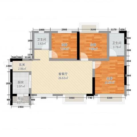 轩雨公寓3室1厅2卫1厨95.00㎡户型图